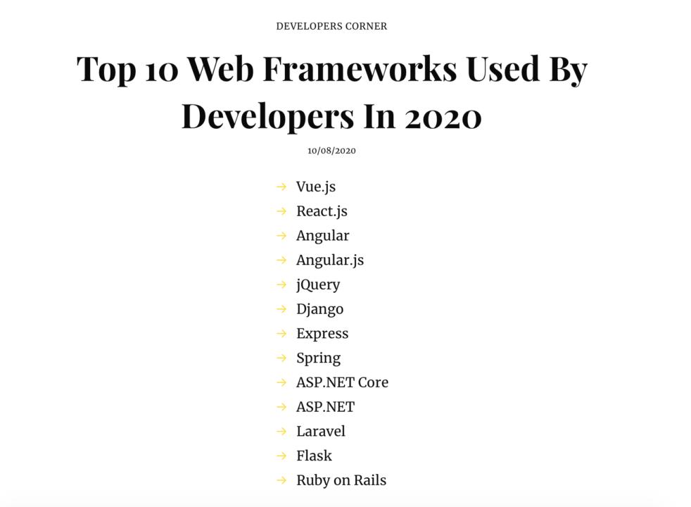 TOP 10 WEB Frameworks - analyticsindiamag.com