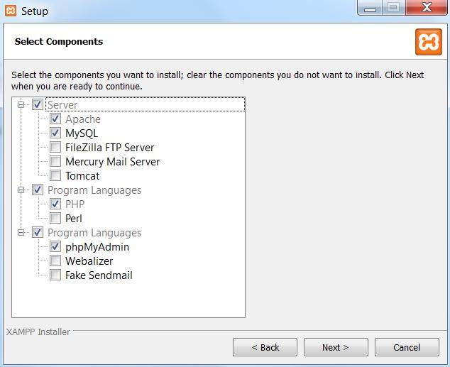XAMPP - komponenty