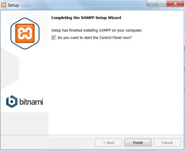 XAMPP - koniec instalacji