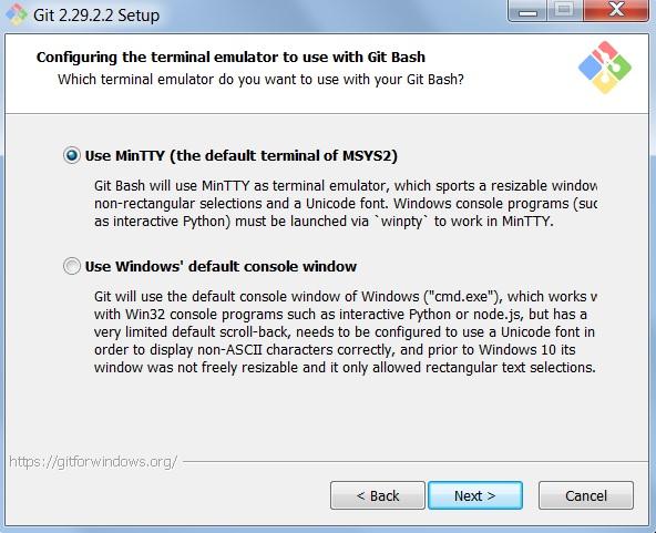 Instalacja gita - wybór emulatora Git Bash